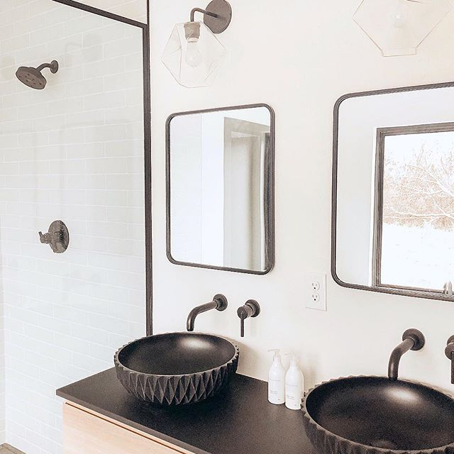 "Did you see @ceciliamoyer master bathroom?! Omg!! Love how it turned out! The sinks from @sandhelden are so unique! 😍 . To shop this image or similar items, click on the link in my profile. Then select ""shop my instagram."" http://liketk.it/2yeVX #liketkit @liketoknow.it #ltkhome #masterbathroom"